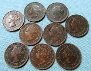Lot 9 Canada Victoria Large Cents 1859 1876H 1882H 1884 1888 1893 1897 1900 1901
