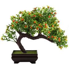 Artificial Orange Green Japanese Zen Bonsai Tree Realistic Replica Decor Plant