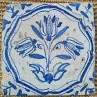 Antique 17th C Dutch Delft 'Accolade' Tile with Wanli Corners Chinois c.1640
