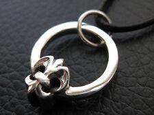 Fleur de Lis en el ring 925'er plata cadenas colgante/ka 411