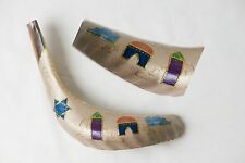 """12""""-14"""" Painted Ram's Horn Shofar with Multi-color Jerusalem and a Star of David"""