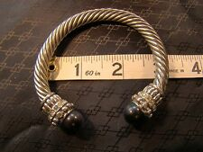 Vintage Style Silver Rope Rhinestone Cat's Eye Stone Clip Cuff Bracelet