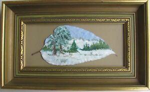 """REG DICK AUSTRALIAN FRAMED OIL ON GUM TREE LEAF """"SNOW SCENE"""" C 1990 A"""