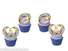 12 Mariage Bague Diamant Comestible Cupcake Toppers, Fée Gâteau Bun Décorations