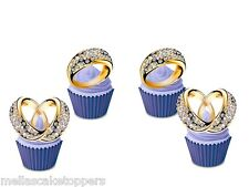 12 Wedding  Diamond Ring Edible Cupcake Toppers, Fairy Cake Bun Decorations