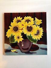 Vintage Large Tile Wall Hanging Ceramic With Sunflower Design