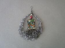 alter Christbaumschmuck, Tinsel-Ornament,  2 Nikolaus-Oblaten, Gablonzer Perlen