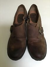 Born BOC Women Size 7 Brown Leather Ankle Boots Booties Zip Heel Buckle NWOT