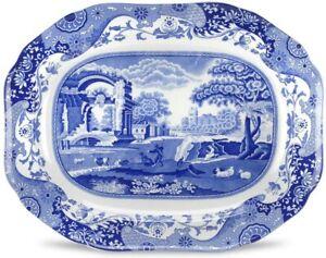 Spode Blue Italian Medium Oval Platter, Porcelain, 14 Inch - Blue White