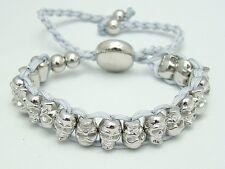 Shamballa Pulsera Plata Metal Skull Beads