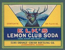 ELKS ORANGE CRUSH LEMON SODA LEAVENWORTH BOTTLE LABEL