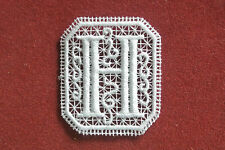 Oblong letter/initial H - sew-on lace motif/applique/patch/craft/card making