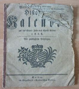 Kalender, Verbesserter Gothaischer Historien kalender auf das Jahr 1832