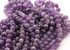 Wholesale Natural Amethyst Gemstone Round Loose Beads DIY Charm Jewelry New 4mm