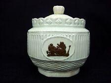 Antique Late 18th Century Leeds Pottery Light Paste Lidded Sugar Bowl Bacchus