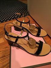 Juicy Couture black patent wedge sandal size 5M ankle strap gold emblem