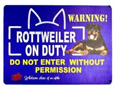 1x ROTTWEILER - BEWARE OF THE DOG  SIGN - Aluminium Composite Board (8x 6inches)