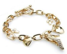 Damen Bettel Armband Kreuz+Pumps Herz Gold Zirkonia Klar Kristall Glieder Ketten