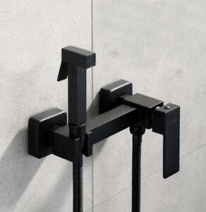Square Bidet Sprayer Shattaf Water Hot & Cold Valve Hose Set , Soild Brass Black