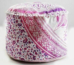 Mandala Floor Pouffe Cover Ethnic Round Ottoman Pouf Large Cotton Footstool Case
