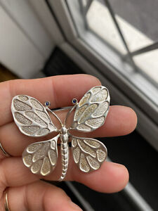 Rare Mark GJ Ltd And S925 Signed Georg Jensen Butterfly Sterling Silver Brooch