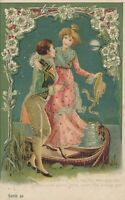 Couple and Boat Art Nouveau Postcard – udb - 1904