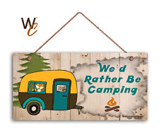 We'd Rather Be Camping Sign, Rustic Decor, Retro Camper and Fox, 5x10 Sign