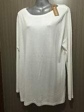 BNWT Ladies Sz XL/16 Rivers White Rose Soft Flowing Long Sleeve Viscose Knit Top