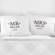 Personalised Mr and & Mrs Pillow Cases Perfect For Wedding Couple Present Gift