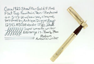 CIRCA 1925 SHEAFFER GOLD FILLED FLAT TOP FOUNTAIN PEN RESTORED NO RESERVE