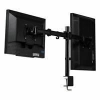 Steel Dual Monitor Arm Desk Table Mount Stand 2 LCD Fully Swivel Clamp up to 27""