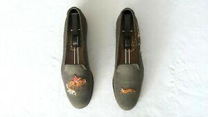 """SO CUTE! Women's $500 Stubbs & Wootton Olive """"FOX HUNT"""" Slippers Loafers Shoes 9"""