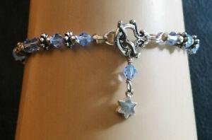 "Sterling Silver Bracelet Light Blue Crystal Star Charm Toggle 7.25"" 7g 925 #559"