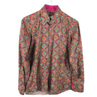 Vogue Autocratic Button Down Shirt Size M Paisley Long Sleeve 100% Cotton Italy