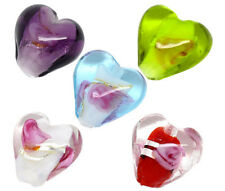 50 Mixed Lampwork NEW Glass Color-Lined Foil Heart Beads