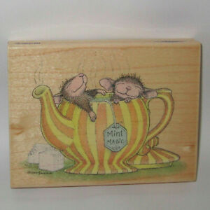 Stampabilities House Mouse Rubber Stamp WE'RE MINT TEA BE TOGETHER Color Wood