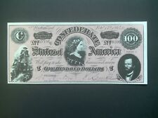 Confederate States $100.00 Currency Reproduction.~Nice Color~Free Shipping.