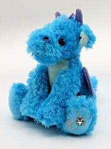 "Russ Berrie Shining Stars Blue Sparkling Dragon Plush Stuffed No Code 8"" 2006"