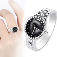 Frauen Schmucksacheuhrgeschenk Form Ring Silber Überzogene Zircon Runde Finger