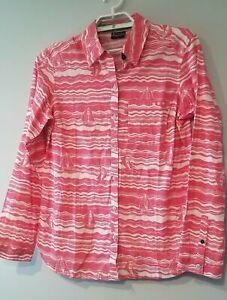 Columbia PFG fishing shirt M pink sailboats button front Nautical linen blend