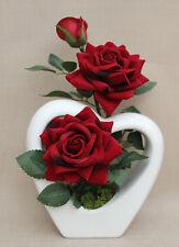 ARTIFICIAL SILK RED SUPREME OPEN VELVET ROSE IN WHITE HEART SHAPE VASE 16cmGIFTS