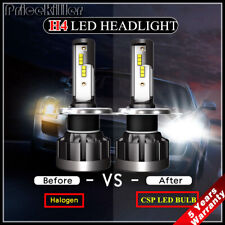 Pair CSP H4 LED Headlight Bulb Kit 2000W 250000LM Hi-Lo Beam Xenon 6000K White~