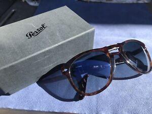 Persol 714 Folding Sunglasses Tortoise Brown Frame Blue Polarized Lens Full Kit