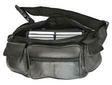Leather Fanny Pack Belt Waist Pouch Hip Travel Purse Large Mens Womens Black New
