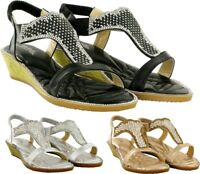 LADIES LOW WEDGE STONE STRAPPY HEEL SANDAL WOMENS DESIGNED SANDAL UK SIZE 3-8