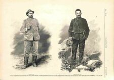 Président Paul Kruger & Chefs Boers Christiaan de Wet & Louis Botha GRAVURE 1900