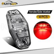 4 pcs Side Fender Marker Trailer Clear/Red Universal Mount Clearance LED Light