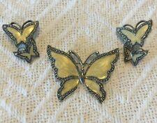 Gorgeous Set Of Vintage Enamel Jewelry Butterflies Pin / Brooch & Earrings!