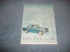 "1959 Toyota Toyopet Vintage Ad ""Value"""