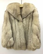 VINTAGE NORWEGIAN BLUE FOX FUR COAT JACKET WOMENS SIZE S M 4 6 8 WHITE SILVER 25